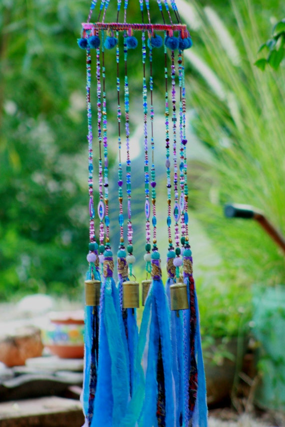 Turquoise  Purple & Gold Wind Chime Dream Catcher Mobile  with Brass Bells and Fabric Tassels(made to order)
