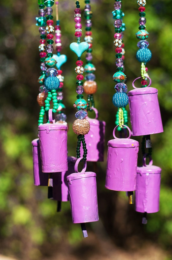 Outdoor Patio Beaded Wind Chime Sun Catcher With Purple Brass Bells