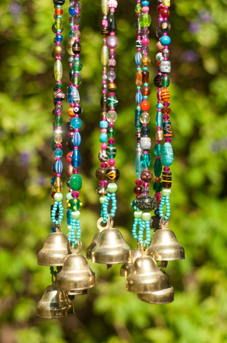 Colorful Bohemian Beaded Mobile with Brass bells image 0