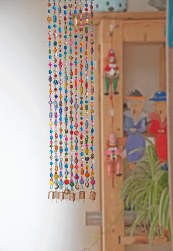 Bohemian Hippie Suncatcher Beaded Curtain 9 Beaded strings (made to order)