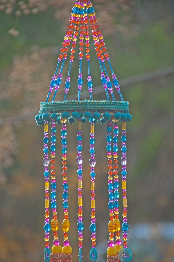 Unique wind chimes, Gypsy Bohemian colorful mobile, Boho Wind Chime-Window Decoration-Outdoor Decor
