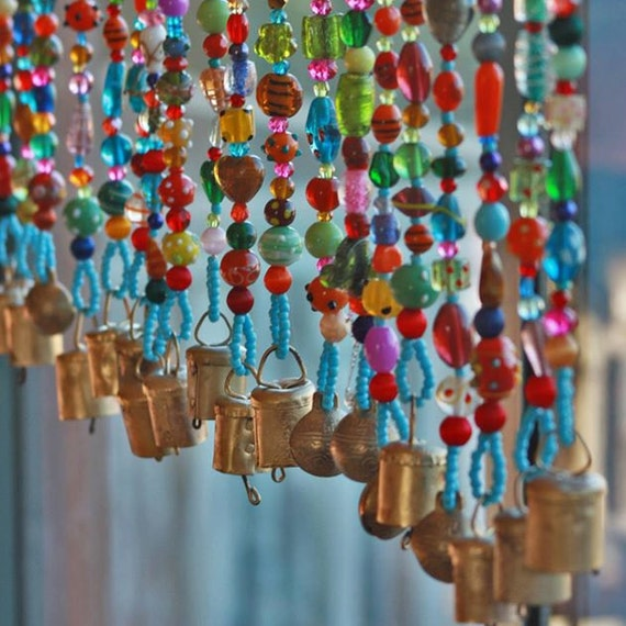 Bohemian Colorful Beaded Sun Catcher Curtain- 35 beaded strings 30 inches/ 75 cm long each (made to order)