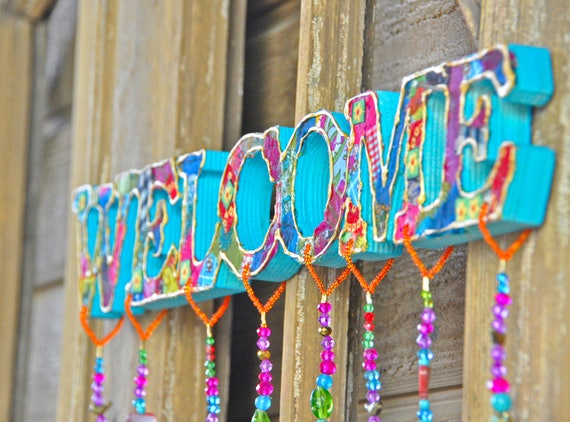 Bohemian Colorful Handmade Welcome Sign With Brass Bell and fabric tassels (made to order)