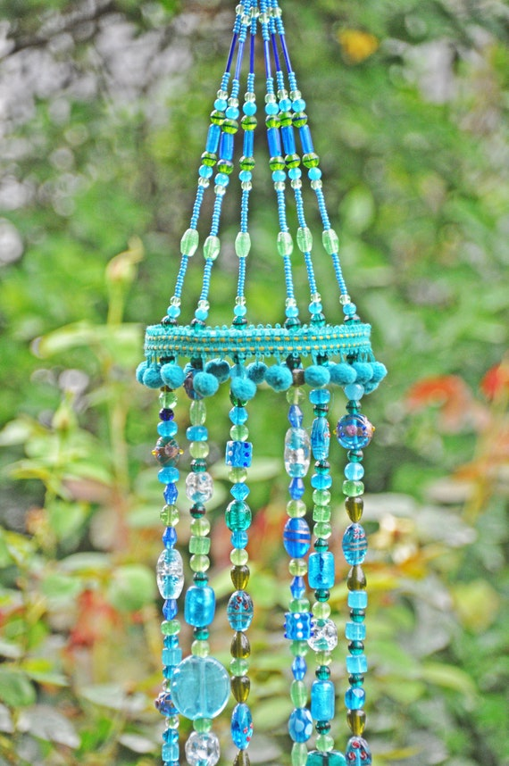 Unique Beaded Wind Chimes With Brass Bells (made to order)