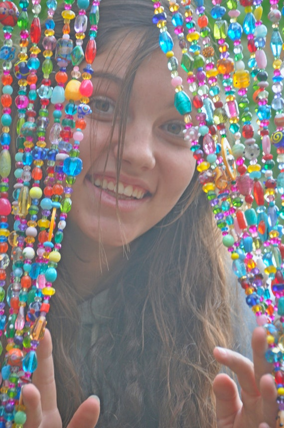 Colorful  Bohemian Beaded Curtain Made of Individual Beaded Strings