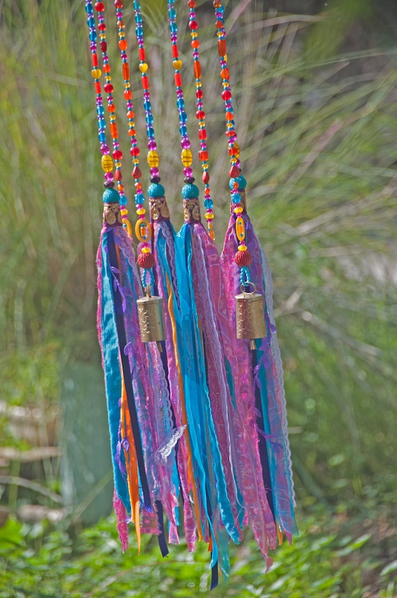 Fuchsia Turquoise and Orange Beaded Wind Chime with Fabric Tassels, Unique boho hand Made To Order