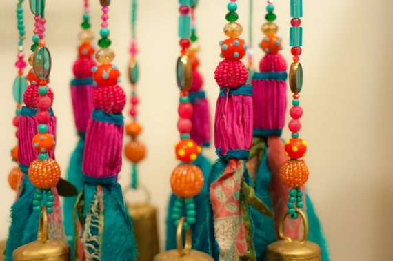 Turquoise  and Fuchsia Beaded Wind Chime Sun Catcher  Mobile (made to order)