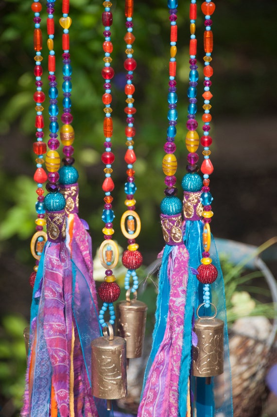 Unique Wind Chimes, Gypsy Bohemian Colorful Mobile (made to order)