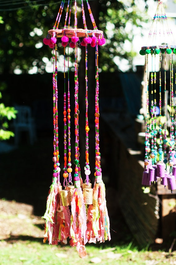Fuchsia Green and Orange Wind Chime Beaded Mobile With Brass Bells and Fabric Tassels (made to order)