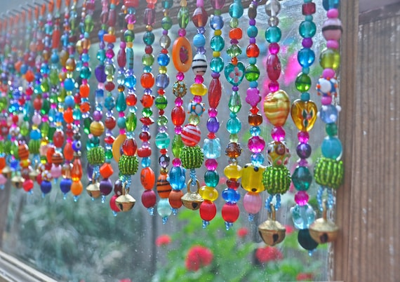 Colorful  Boho Beaded Valance Made of 60 Beaded Strands (made to order)