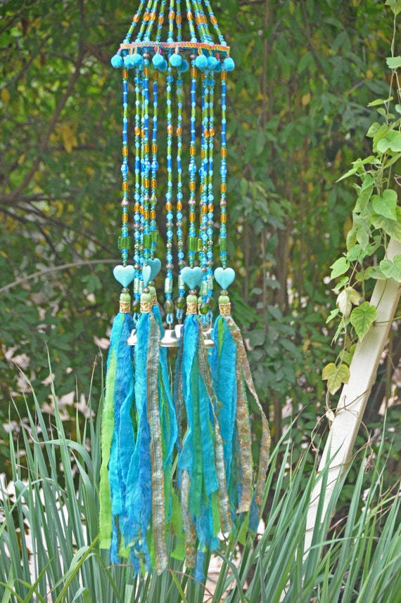 Turquoise Bohemian Wind Chime With brass Bells