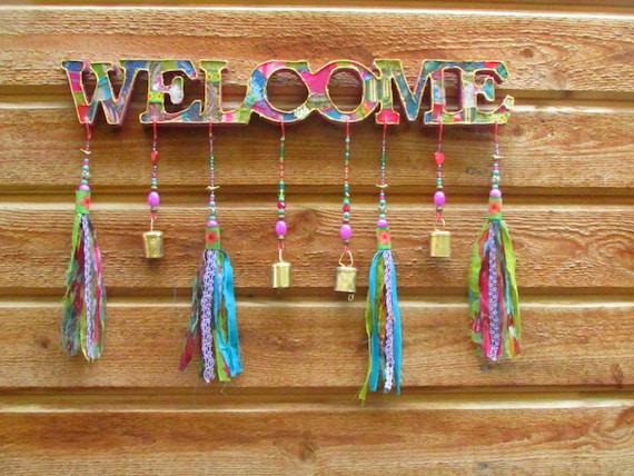 Welcome sign, bohemian Front Door Decor