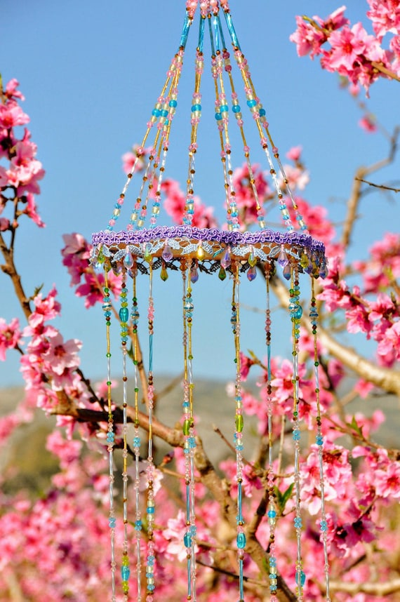 Unique Pastel Glass Beaded Bohemian Wind Chime With brass Bells (made to order)
