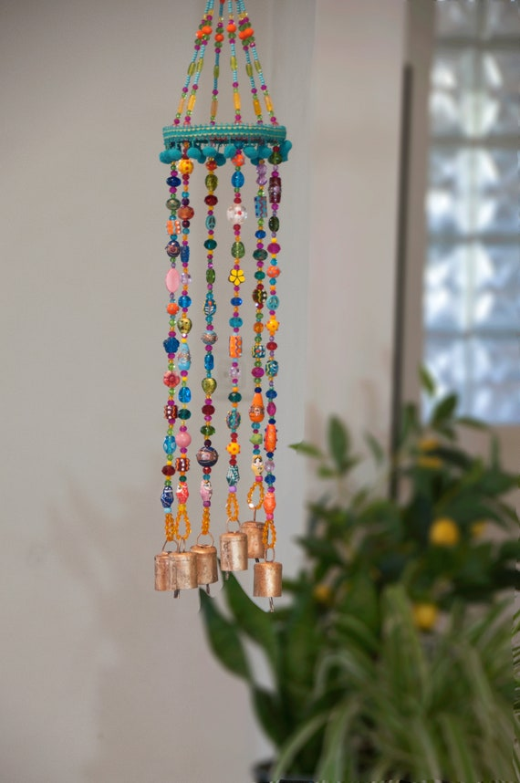 Unique Colorful Bohemian Wind Chime With Brass Bells (Made to Order)