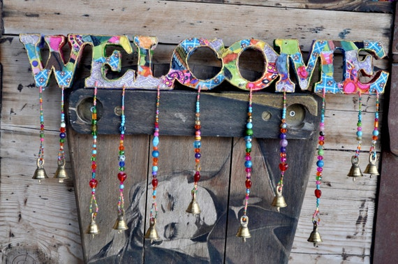 Bohemian Colorful Handmade Welcome Sign With Brass Bells