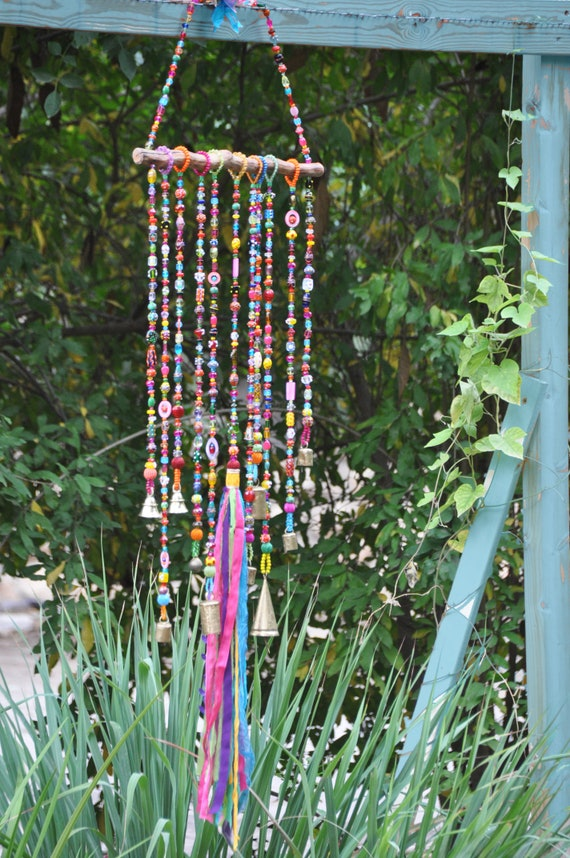 Glass Bead & Driftwood Mobile Sun catcher (made to order)