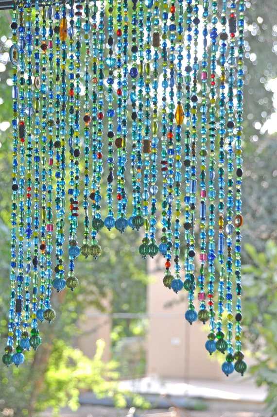 Beaded Arch shape Valance Curtain for a door window or wall in Blue Turquoise Green shadows and touches of red yellow and orange