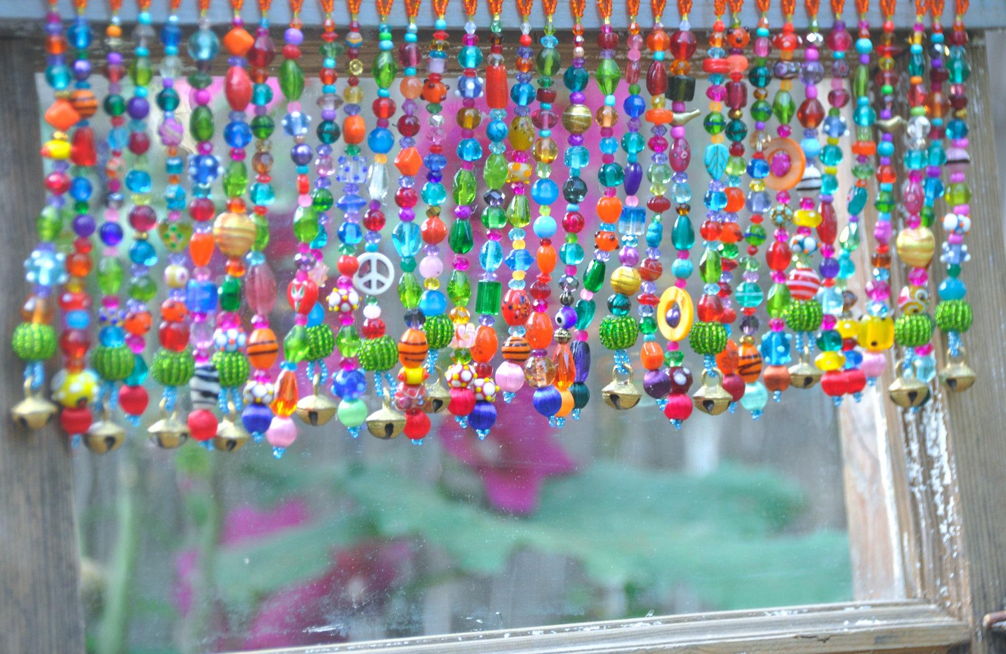 Perlen Perlen Vorhang bunte Volant Fenster Boho Volant