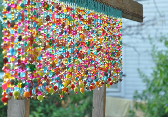 Colorful Glass-Beaded Window Valance & Chime 60 beaded strands (made to order)