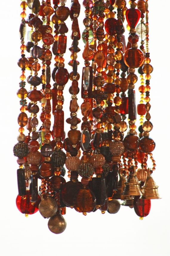 20 Beaded Strings In Shadows of Brown Amber Green and Gold with touches of green (made to order)