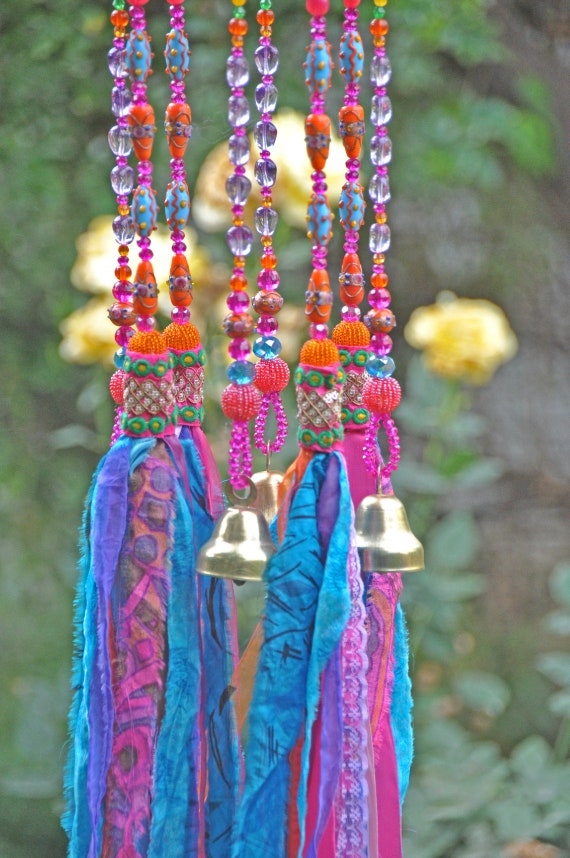 Bohemian Decor-Fuchsia Turquoise and Orange Beaded Wind Chime with Fabric Tassels, Unique boho hand Made To Order