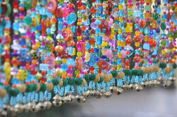 Colorful Boho Beaded Valance, Window Beads,Gypsy Window Veil Sun Catcher