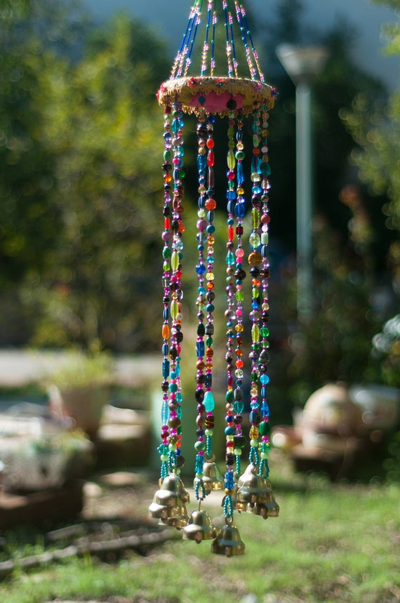 Colorful Bohemian Beaded Mobile  Sun catcher with Brass bells