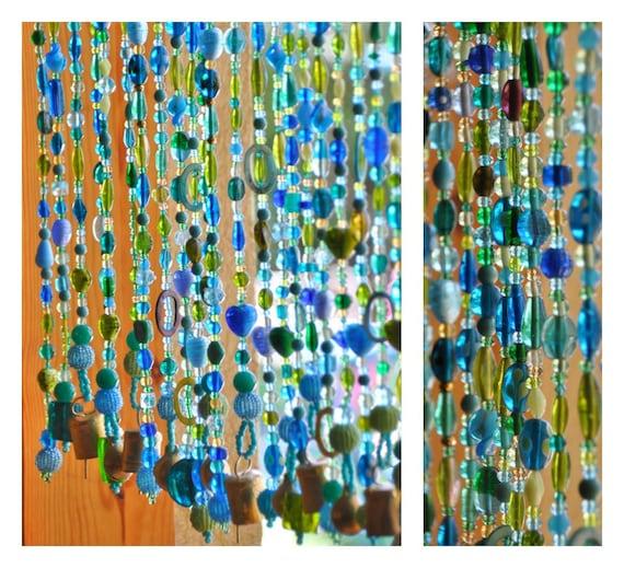 Blue beaded curtains-Beaded door curtains-Door beaded curtain-Beaded curtains-Hanging door beads-Aqua sun catcher-Houswarming gift-