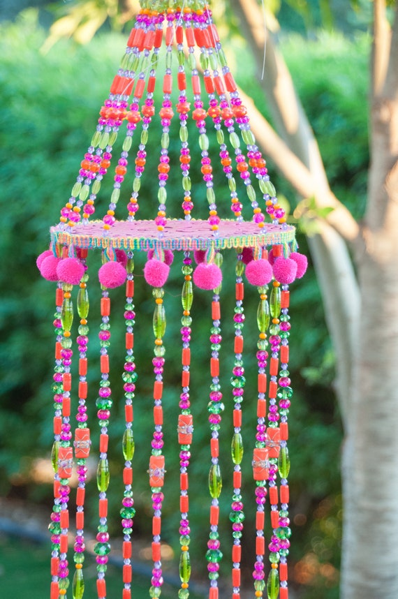 Fuchsia Green and Orange Wind Chime Sun Catcher Beaded Mobile With Brass Bells and Fabric Tassels (made to order)