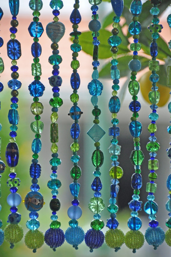 Blue, Turquoise, and Green Shades Beaded Curtain, 25 beaded strings 30 inches long each (made to order)