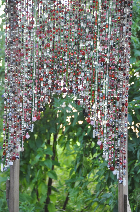 Arch-Shaped Glass-Beaded Valance in Black, White, Pink, Red, Grey and Clear  (Made to Order)