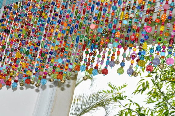 """Colorful Glass-Beaded Window Valance & Chime,50 beaded strands that are 10""""- 14""""  long. (Made To Order)"""