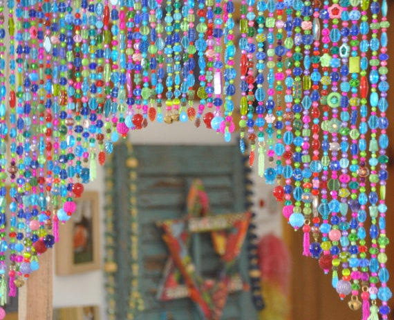 Arch-Shaped Glass-Beaded Valance in Shadows of turquoise blue green purple red and fuchsia (made to order)