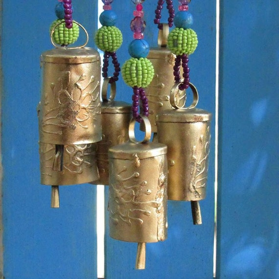 Turquoise Bohemian Wind Chime With Brass Bells (Made to Order)