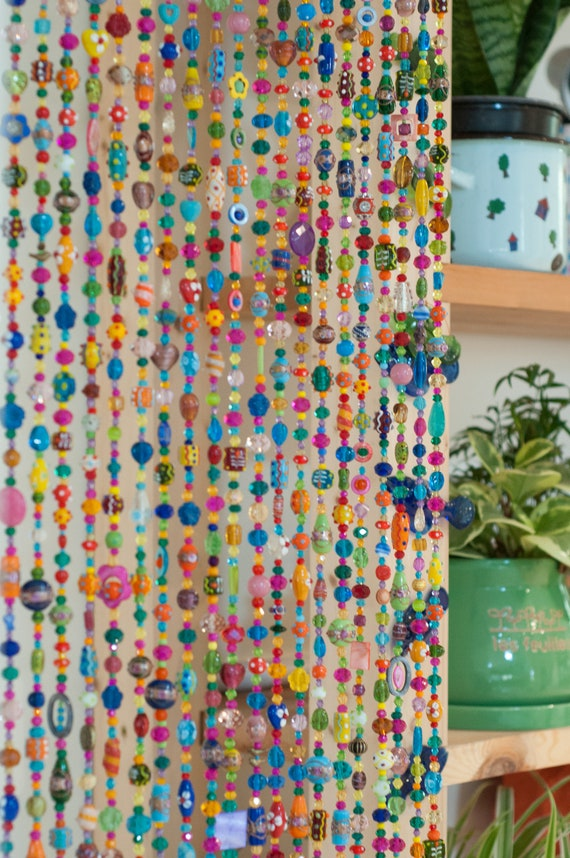 Bohemian Colorful Hand Made Beaded curtain, (made to order)