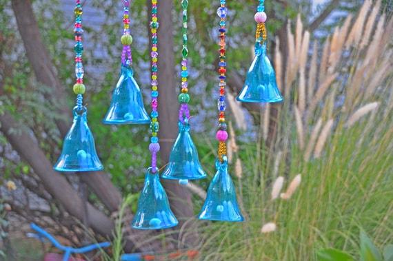 Beaded hanging Turquoise glass bells, Garden decoration, Boho ethnic decor, Glass wind chime, Outdoor decks decoration, Porch Decor