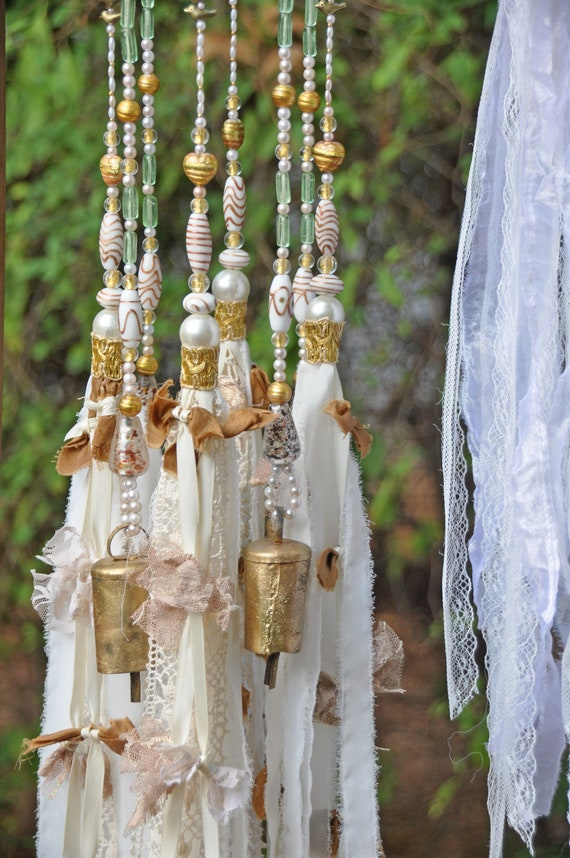 Boho Hippie Weeding Decor- White Beaded Wind Chimes with Brass Bells and Fabric Tassels