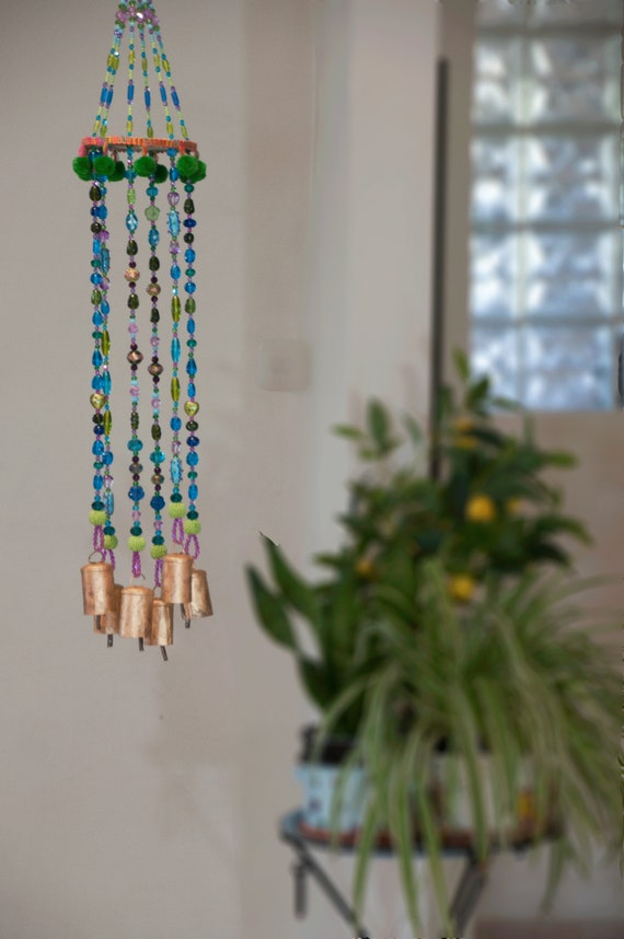 Unique Turquoise and green  Beaded Wind Chimes (made to order)