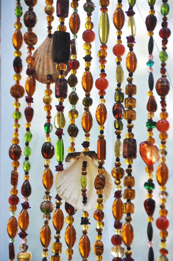Door beads with Sea Shells and Brass Bells in Shadows of Brown Amber Gold and Green, Hand Made to Order