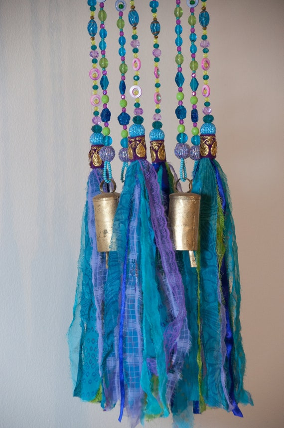 Turquoise Green  and Purple Wind Chime Suncatcher Mobile with fabric tassels and brass bells (made to order)
