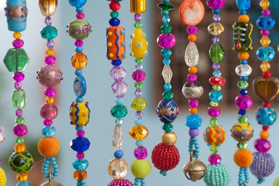 Bohemian Colorful Hand Made Beaded Curtain-Valance (made to order)