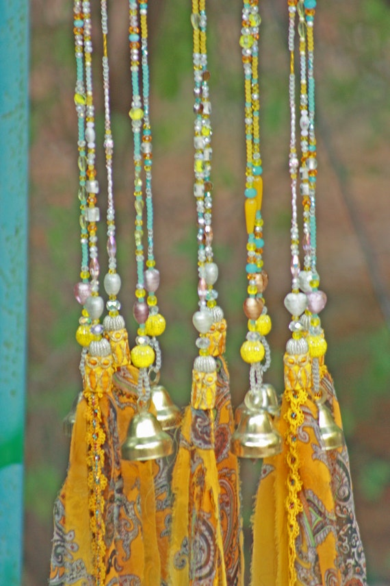 Yellow White and Clear Wind Chime With Fabric Tassels and Brass Bells (made to order)