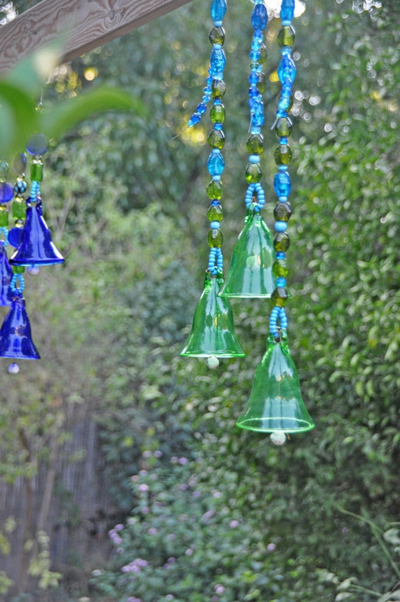 Green Glass-Blown Bell On Beaded String (Made to Order)