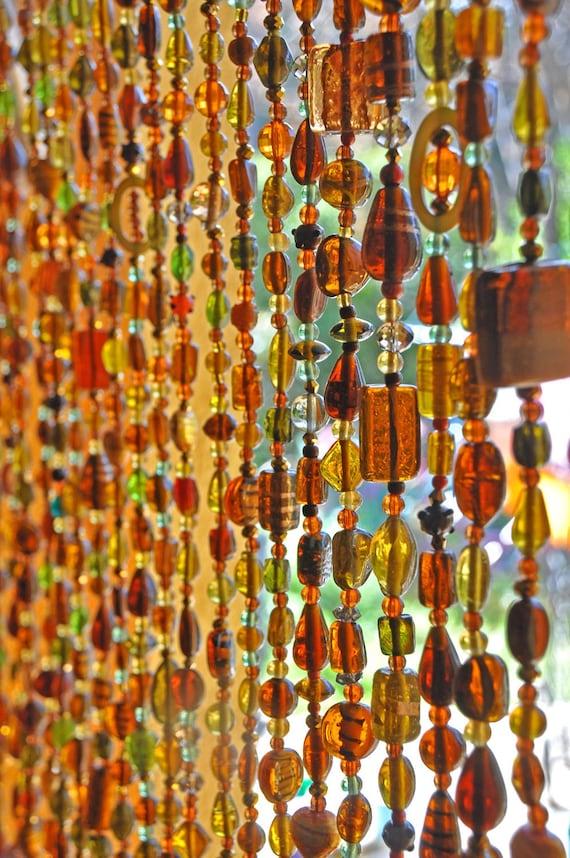 Perlé porte rideau de verre Perles verre Rideau perlé Sun | Etsy