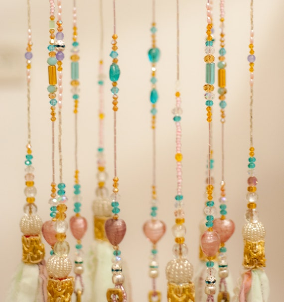 Pastel Glass Beaded Bohemian Wind Chime With Brass Bells And Fabric Tassels, hand made to order