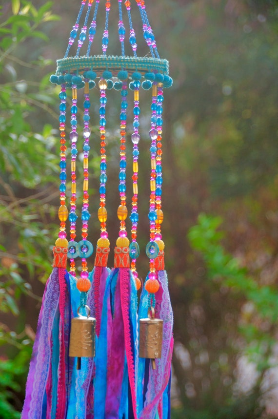Bohemian Sun Catcher Beaded Mobile With Brass Bells and Fabric Tassels (made to order)