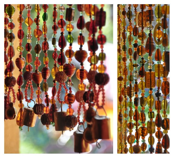 Bohemian Window Beaded Curtain in Shadows of Brown Amber Gold and Touches of Green (made to order)