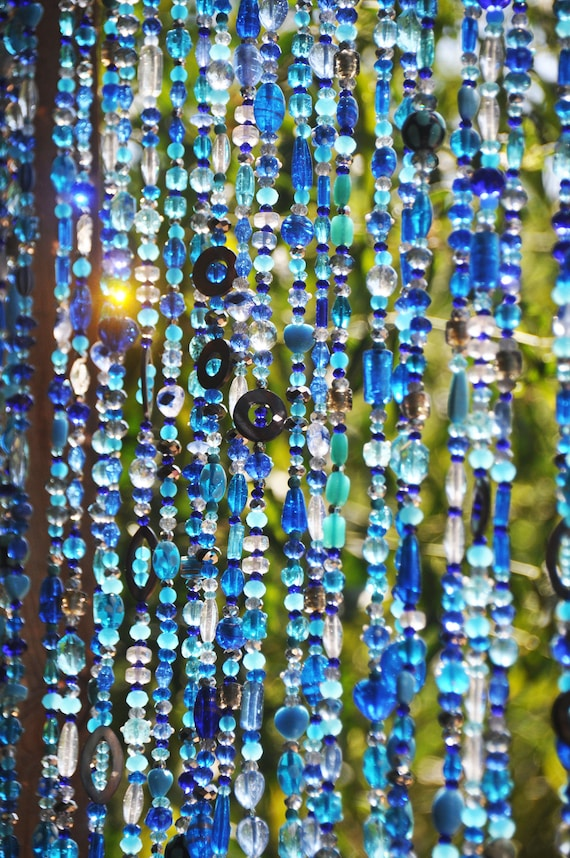 Beaded Curtains In shadows of Blue Turquoise green & transparent