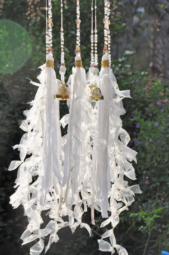 White Clear and Gold, Holly Beaded Bohemian Wind Chimes with Brass Bells and Fabric Tassels (hand made to order)
