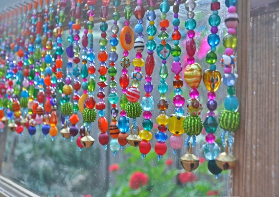 Decorative Colorful  Bohemian Hand Made Beaded Valance,(made to order)